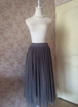 Women Gray Irregular Midi Tulle Skirt Gray Bridesmaid Midi Tulle Skirt Plus Size image 2