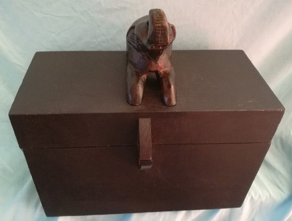 Large African Jewelry Box Crest Heavy Wood Hand Carved Vintage 48