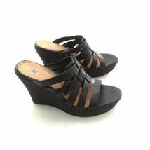 "Ugg Wedge Open Toe Black Leather 4"" Heel Sz 10M Womans Sandal NWT - $84.99"