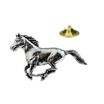 Running Horse English Pewter tie pin, Lapel Pin Badge, in gift box