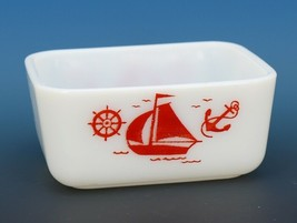 "Vintage McKee Glass Red Sailboat Refrigerator Dish Base 5"" by 4"" No Lid"