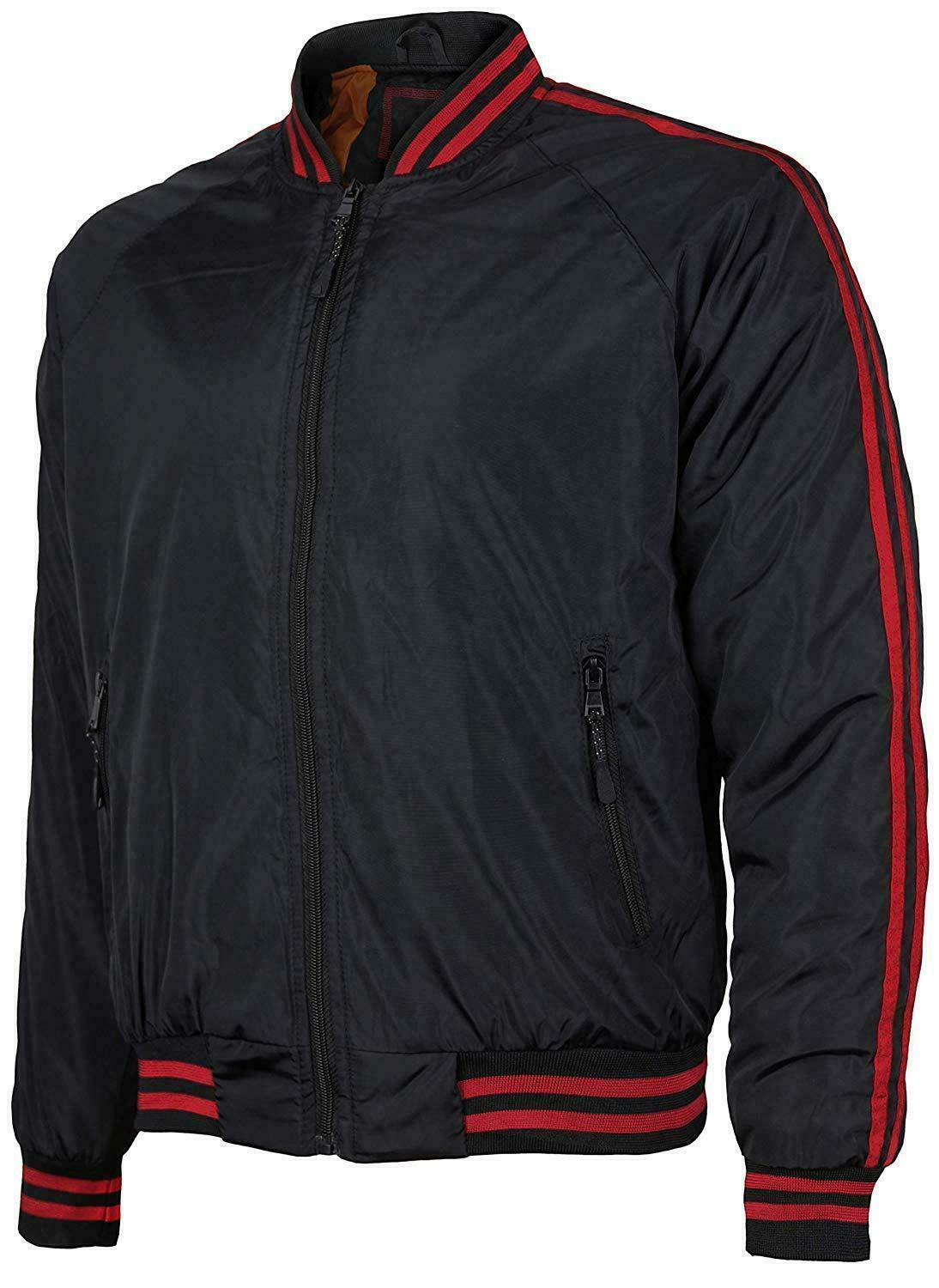 Men's New W/Defect Slim Fit Zip Up Striped Water Resistant Flight Bomber Jacket