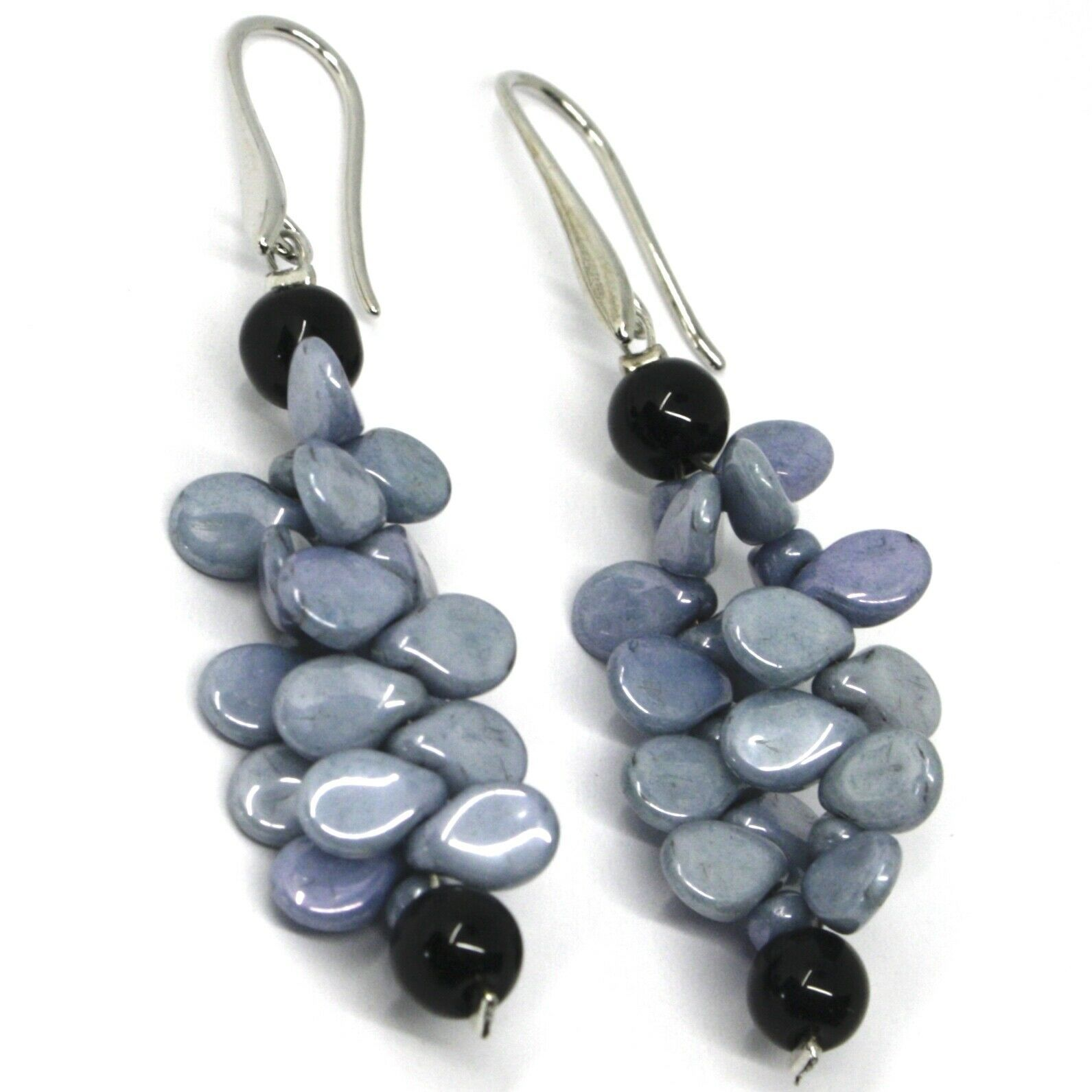 PENDANT EARRINGS GRAY BLACK MURANO GLASS, BUNCH OF PETAL DROPS MADE IN ITALY