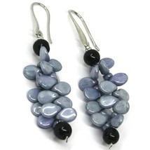 PENDANT EARRINGS GRAY BLACK MURANO GLASS, BUNCH OF PETAL DROPS MADE IN ITALY image 1