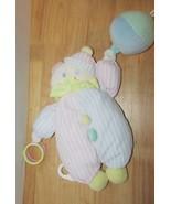 Kids Gifts Clown bear hat ball plush pink blue striped musical hanging c... - $16.03