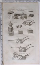 1786 ORIGINAL PRINT AGRICULTURE & HUSBANDRY FALLOW CLEANSING MACHINE BEE... - $122.25