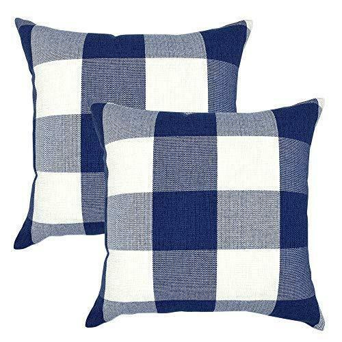 Navy Decorative Throw Pillow Case Cushion Covers Buffalo Checked Plaid 2-Pieces