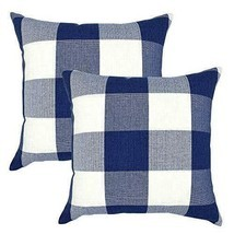Navy Decorative Throw Pillow Case Cushion Covers Buffalo Checked Plaid 2-Pieces image 1