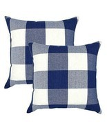 Navy Decorative Throw Pillow Case Cushion Covers Buffalo Checked Plaid 2... - $15.96