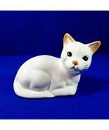 """Small White Cat Figurine Reclining Sitting Porcelain Green Eyes 7"""" - $12.50"""