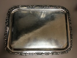 "Vintage Quadruple Plate  W. Rogers ""18"" Warranted 12"" Ornate Serving Tray - $18.93"