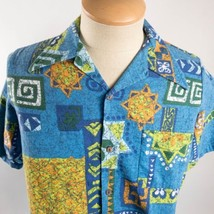 aa422482 JC Penney Towncraft Vintage Barkcloth Large Tribal Hawaiian Aloha Shirt -  $39.59