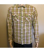 Men's The North Face Medium Long Sleeve BF Plaid Shirt Lime Green Red Gr... - $24.18