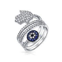Blue CZ Pave Wrap Around Fashion Boho Statement Hamsa Evil Eye Band Ring... - $18.99