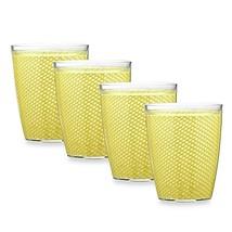 Kraftware Fishnet 14 Oz. Doublewall Drinkware in Lemon (Set of 4) - $24.99