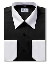 Berlioni Italy Men's Premium Classic White Collar & Cuffs Two Tone Dress Shirt image 2