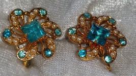 Vintage earrings gold tone flower screw back ocean blue rhinestone earrings - $18.00