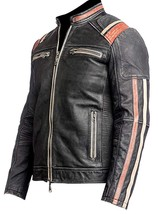 Retro Cafe Racer Distressed Black Vintage Biker Leather Jacket image 2