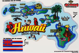 Hawaii State Map Die Cut Sticker - $4.20