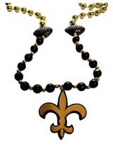Fleur De Lis Black Gold with Football Mardi Gras Beads Party Favor - $4.94