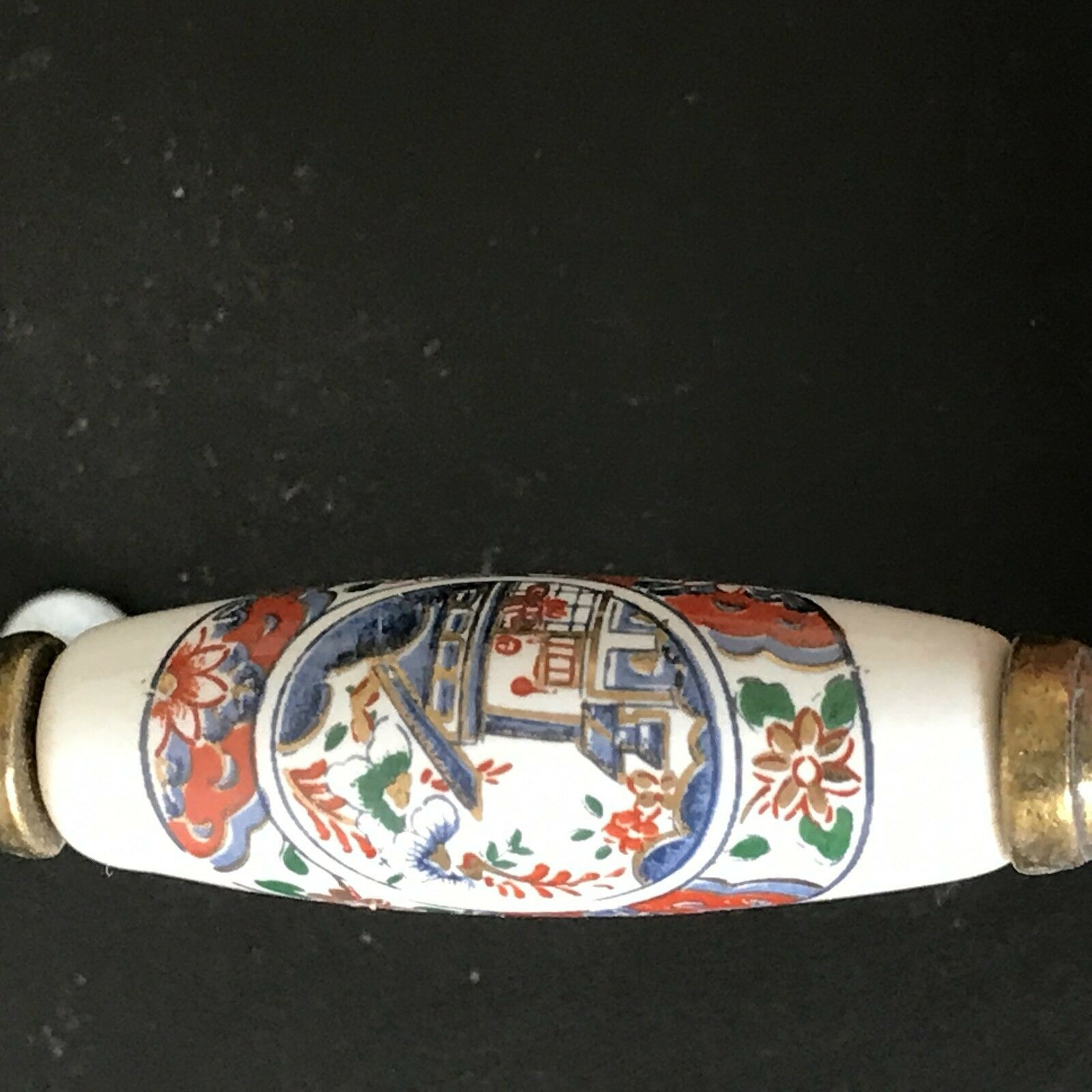 Vintage Ceramic Brass Drawer Pulls Handles Asian Japanese Art Set of 2 image 3