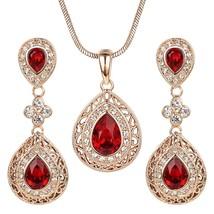 Ruby Jewelry Set for Women Rose GP Vintage Red Crystal Chandelier Pendan - $76.57