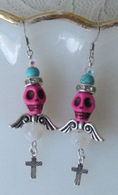 Winged Skull Earrings in Pink Howlite Turquoise Rainbow Moonstone Swarov... - $7.50