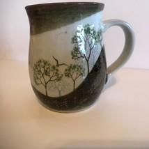 Vintage Coffee Mug Brown Glazed Trees Bird Copper Luster - $39.59