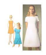 1960s Vintage Simplicity Sewing Pattern 7717 Misses A-Line Dress Mod 12/34 - $6.95