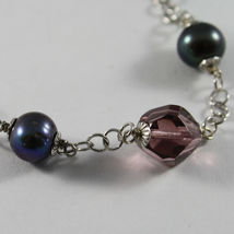 .925 RHODIUM SILVER BRACELET WITH FRESHWATER PEARL GRAY AND PURPLE CRISTALS image 4