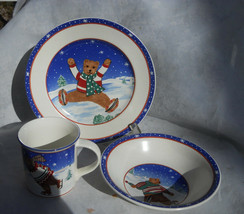 Mikasa Skating Bears CC118 Cup Soup Bowl Salad Childrens Dinnerware - $21.03