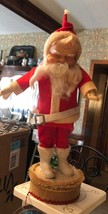 Vtg rubber face SANTA CLAUS mid-century wind up music box bottle brush t... - $23.76