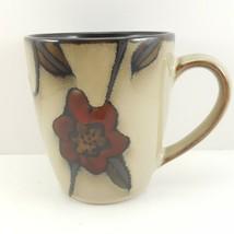 Mikasa Blossom Vine Mug Beige Stoneware Red Floral 13 oz Gourmet Basics - $13.86
