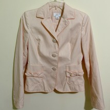 Ann Taylor Loft Womens Size 0 Pink Dotted Blazer Covered Buttons Bow Detail - $18.55