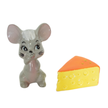 Mouse and Cheese Salt and Pepper Shakers Enesco Japan Porcelain Gray Mouse - $9.99