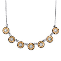 "Round Crystal and Orange Stamped Silvertone Halo Necklace 16""-19"" - $11.91"