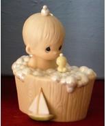 A Tub Full Of Love Precious Moments 104817 Figurine of Boy in Bubble Bat... - $29.20