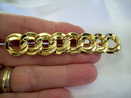 Monet Bar Pin Brooch Double Curb Link Chain Style Gold Plated Vintage Es... - $14.80