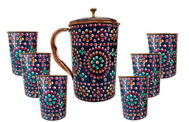 Pure Copper one Jug with Glass KITCHEN Drink ware Set Hand Painted Outer... - $54.23+