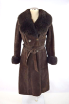 Vtg 70s SAKS 5th AVENUE Brown Suede Leather Jacket Trench Coat Retro Wom... - $113.84
