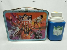 Vintage 1978 Nfl Football Metal Lunchbox Complete W/ Thermos - $54.45