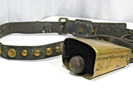 Antique Brass COWBELL Leather Collar Studs Vintage Cow Bell Horse Goat Farm - $163.44