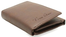 Men's Genuine Leather Tri-Fold Wallet (Brown with Brown Stitch) - $24.54
