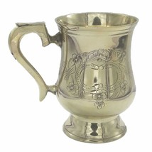 Brass Beer Stein Handcrafted Embossed Shiny Finished Large Tankard - $53.34