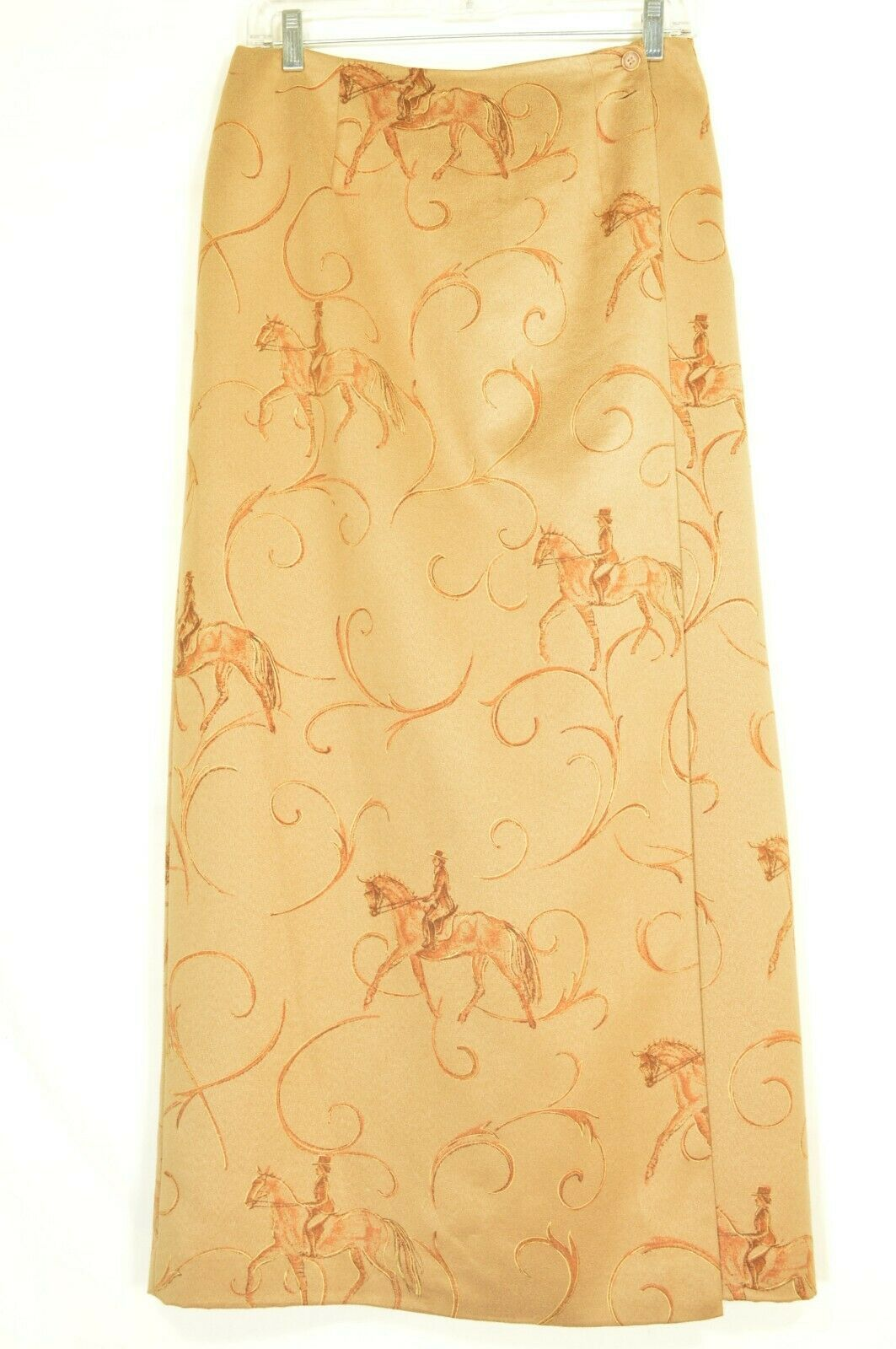 1 Talbots skirt 8 tan long wrap equestrian tonal design of riders faux suede