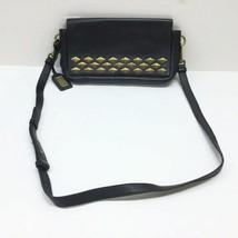 Badgley Mischka Black Leather Gold Stud Crossbody Shoulder Bag Purse image 2