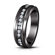 Mens Engagement Eternity Band Ring 14k Black Gold Finish 925 Sterling Si... - £69.73 GBP