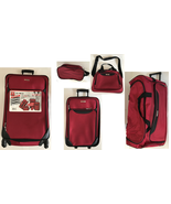* NEW * Tag Springfield III 5 Piece Red Lightweight Spinner Luggage Set - $88.81