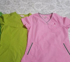 Lot of 2- koi by Kathy Peterson Ladies size Small scrub tops with pocket... - $18.80