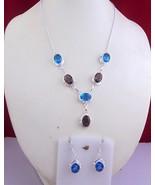 Blue Topaz-Smoky Stone Silver Overlay Handmade Jewelry Necklace f-222-20... - $11.09